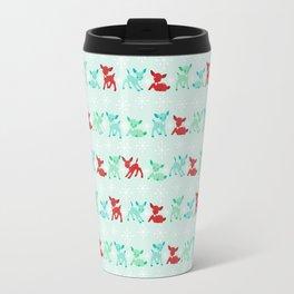 Red, Turquoise, and Jadeite Deer Travel Mug