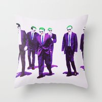 dc comics Throw Pillows featuring JOKER DOGS reservoir dogs batman dark knight rises dc comics by Radiopeach