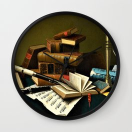 William Harnett - Music and Literature - Digital Remastered Edition Wall Clock