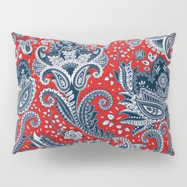Red White & Blue Floral Paisley Pillow Sham