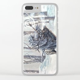 Wizard Riding an Elk in the Snow Clear iPhone Case