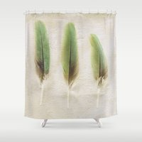 aelwen Shower Curtains featuring Green Feathers by Pure Nature Photos