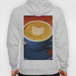 Coffee and Cats-A cat face in a coffee design Hoody