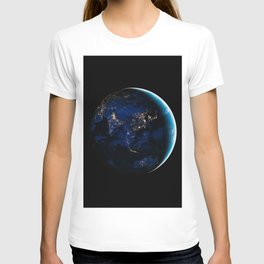 Asia and Australia At Night, Earth From Space, Planet Earth, Space Background, Wall Art Decor T-shirt