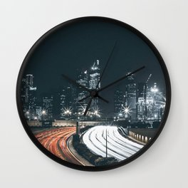 Night city long exposure Wall Clock