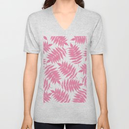 Modern girly pink botanical tropical leaves Unisex V-Neck