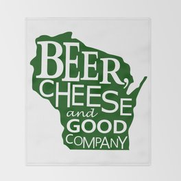 Green on White Beer, Cheese and Good Company Wisconsin Graphic Throw Blanket