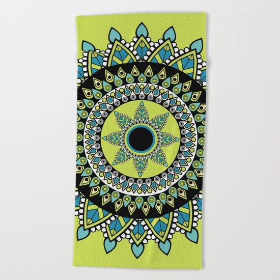 Green & Blue Decorated Indian Mandala Beach Towel