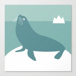Sea lion blue Canvas Print