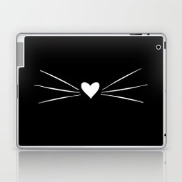 Cat Heart Nose & Whiskers White on Black Laptop & iPad Skin