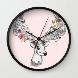 Deer with magnificent antlers and lavish ornaments Wall Clock