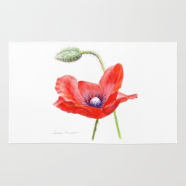 Red Poppy by Teresa Thompson Rug