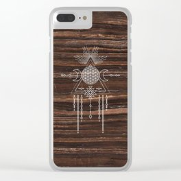 Triple Goddess - Flower of Life - Moon Phase - Shaman - Tribal - Sri Yantra - Brown Marble - Wood - Clear iPhone Case