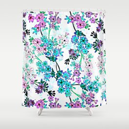 Turquoise Lavender Floral Shower Curtain