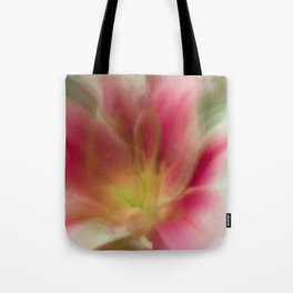 Abstract Pink, Yellow, White Lily-Fleur Blur Series Tote Bag