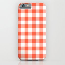 Jumbo Living Coral Color of the Year Orange and White Buffalo Check Plaid iPhone Case