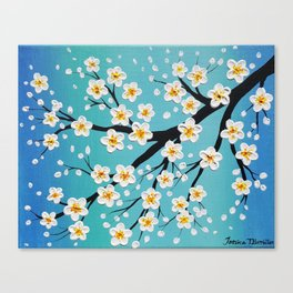 Cherry Blossoms Over a Teal Sky Canvas Print