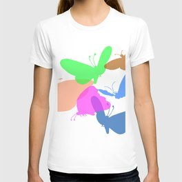 Colorful butterflies on white background T-shirt