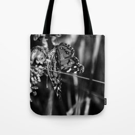 American Lady Butterfly in Black and White Tote Bag