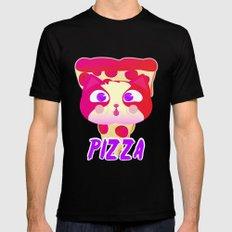 Pizza cat Black MEDIUM Mens Fitted Tee