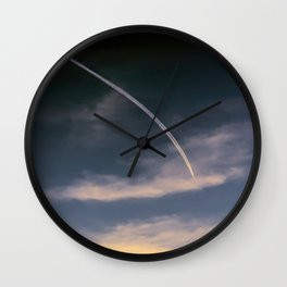 aerial trail wake in the sky Wall Clock