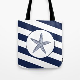 Nautical Starfish Navy Blue & White Stripes Beach Tote Bag