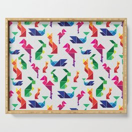 Rainbow Tangram Geomtric Animals Serving Tray