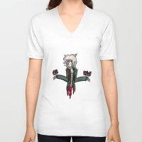 dangan ronpa V-neck T-shirts featuring kooomaeda by crying-hallmonitor