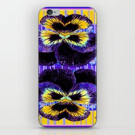 Western Style Double Purple & Gold Pansy iPhone Skin