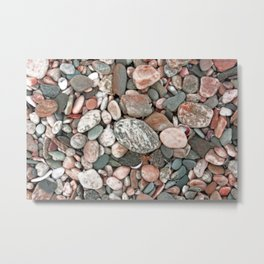 Gray, Pink and Salmon Beach Stones Metal Print