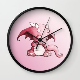 Little Pink Sleepy Dragon Wall Clock