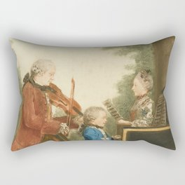 The Mozart family on tour: Leopold, Wolfgang, and Nannerl. Watercolor by Carmontelle, ca. 1763 Rectangular Pillow