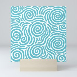 Ripple Effect Pattern Light Blue Mini Art Print