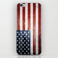 american flag iPhone & iPod Skins featuring American flag by Nicklas Gustafsson