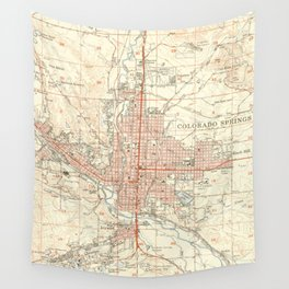 Vintage Map of Colorado Springs CO (1951) Wall Tapestry