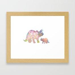 Fairytale Pink Castle Copper Glitter Dinosaur Framed Art Print