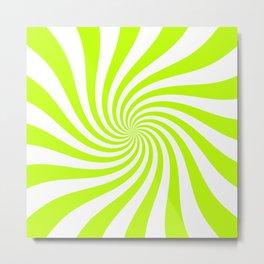 Swirl (Lime/White) Metal Print