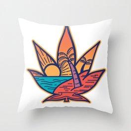 Cannabis Summer Leaf Throw Pillow