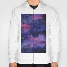 Watercolor Galaxy Nebula Pink Purple Sky Stars Hoody