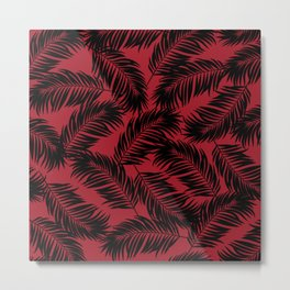 Palm Frond Tropical Décor Leaf Pattern Black on Red Metal Print