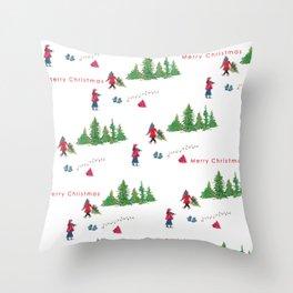 Christmas Alpine Scene Throw Pillow