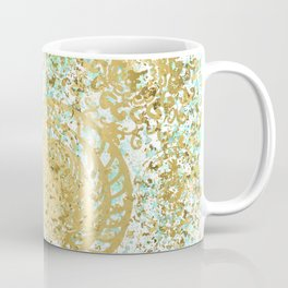 Mint and Gold Radial Splatter Paint Design Coffee Mug