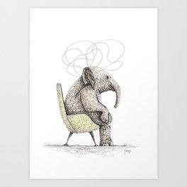 Sitting Elephant - Elefante Sentado Art Print