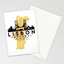 LISBON PORTUGAL SILHOUETTE SKYLINE MAP ART Stationery Cards