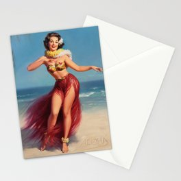 Hula Girl Vintage Pin Up Art Stationery Cards
