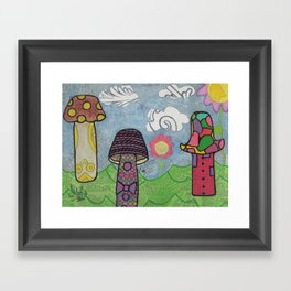 Trippy Mushrooms Framed Art Print