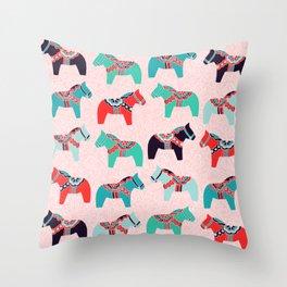 Cute Dala Horses Throw Pillow