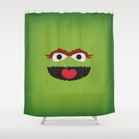 sesame street Shower Curtains featuring Sesame Street Vintage Nursery Art Oscar the Grouch Retro Style Minimalist Poster Print by The Retro Inc