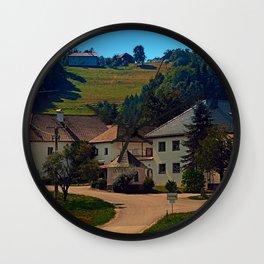 Small village in autumn scenery Wall Clock