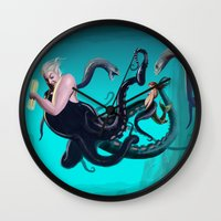 ursula Wall Clocks featuring Ursula by Jehzbell Black
